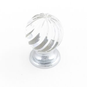 Castella Heritage Sovereign Twirl Transparent Crystal with Polished Chrome Base 25mm Round Knob