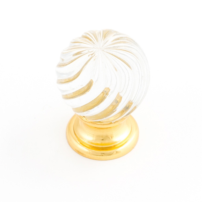 Castella Heritage Sovereign Twirl Transparent Crystal with Bright Gold Base 30mm Round Knob