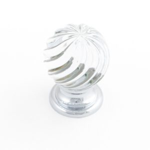 Castella Heritage Sovereign Twirl Transparent Crystal with Polished Chrome Base 30mm Round Knob