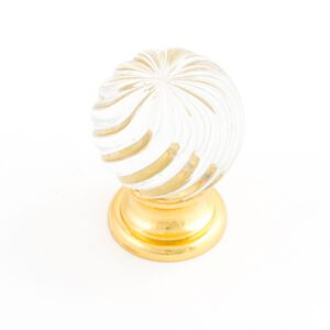 Castella Heritage Sovereign Twirl Frosted Crystal with Bright Gold Base 25mm Round Knob