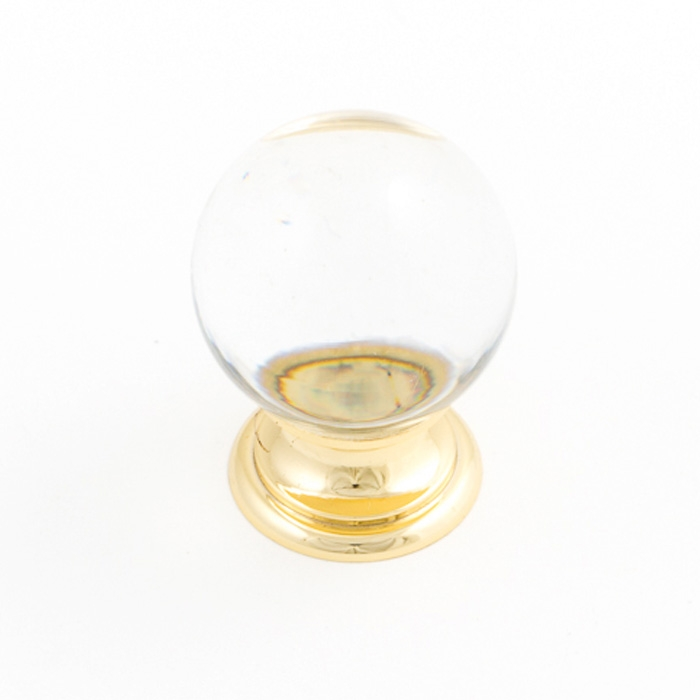 Castella Heritage Sovereign Transparent Crystal Ball with Bright Gold Base 25mm Round Knob