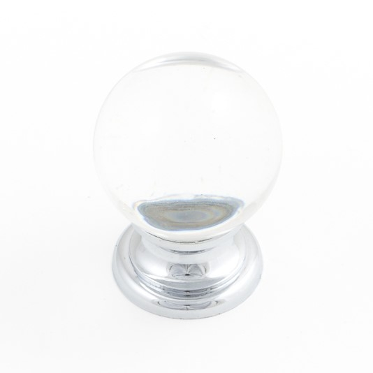 Castella Heritage Sovereign Transparent Crystal Ball with Polished Chrome Base 25mm Round Knob