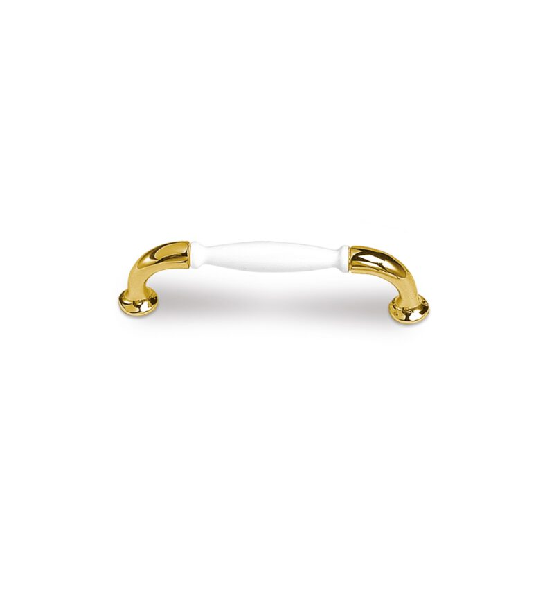 Castella Heritage Sovereign Gold Plated and White Porcelain 96mm C Pull Handle