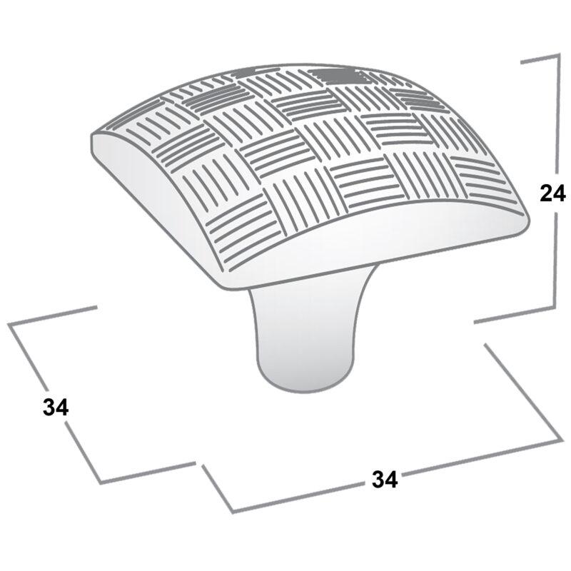 Castella Geometric Tessellate Brushed Tin Square 34mm Knob 752 034 85 Diagram