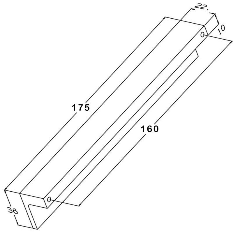 Castella Geometric Vector Polished Chrome Square Lip Pull 160mm Handle Diagram