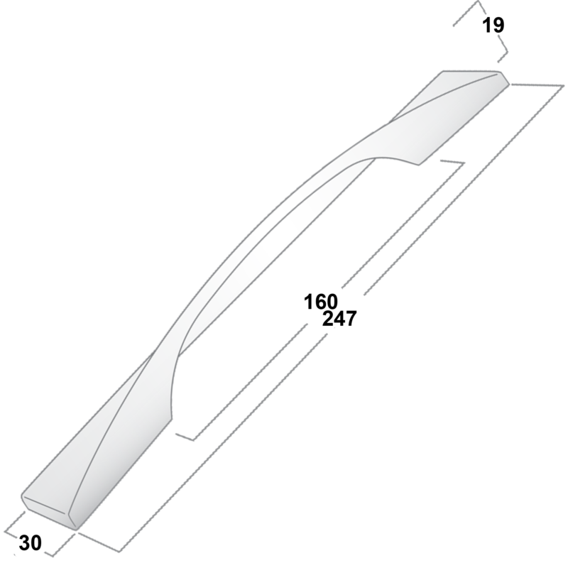 Castella Minimal Forme Polished Chrome 160mm Cup Pull Handle 148 160 06 Diagram 2