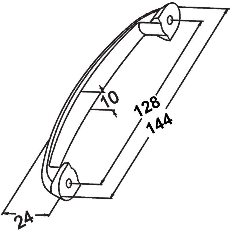 Furnware Dorset Terassa Matt Nickel 128mm C Pull Bow Zinc Alloy Handle M570 128 Mn Diagram