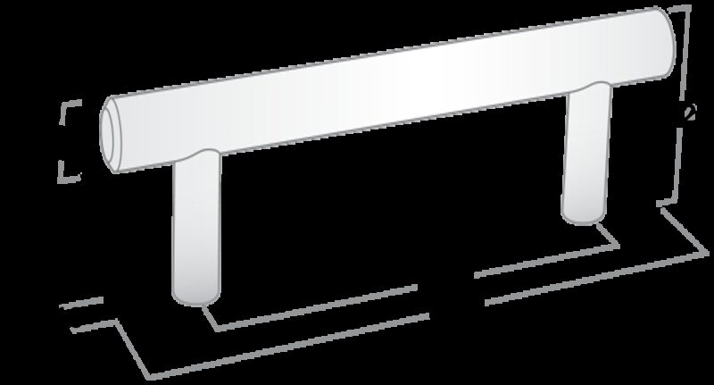 3420 T Bar Rail And Post Matte Black 224mm Aluminium Handle