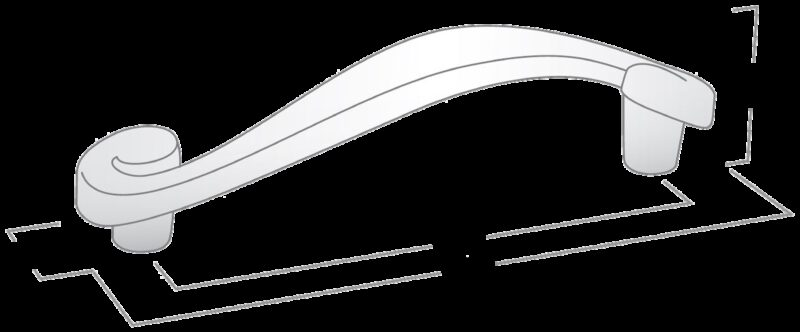3467 Cordoba Collection Nautilus Spiral Brushed Nickel 128mm Handle