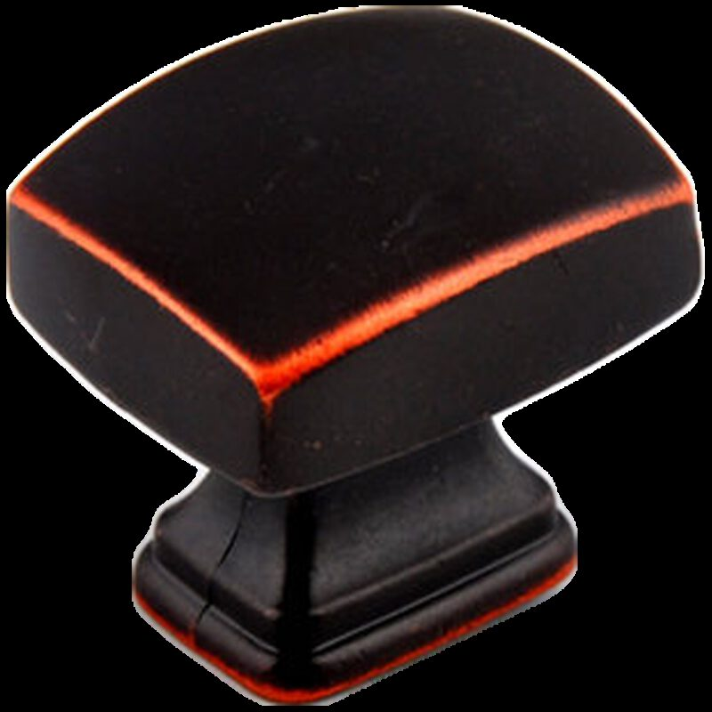 Small Town Collection Antique Black with Red Copper Highlight 30mm Rectangle Knob