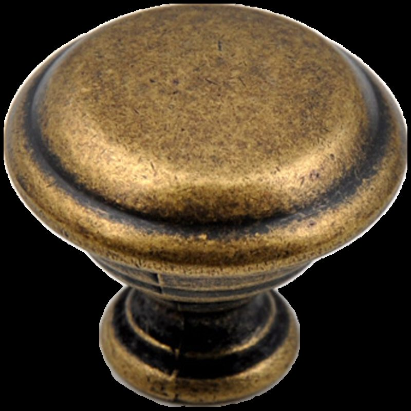 Small Town Collection Bronze 30mm Fluted Round Mushroom Knob with Rippled Base