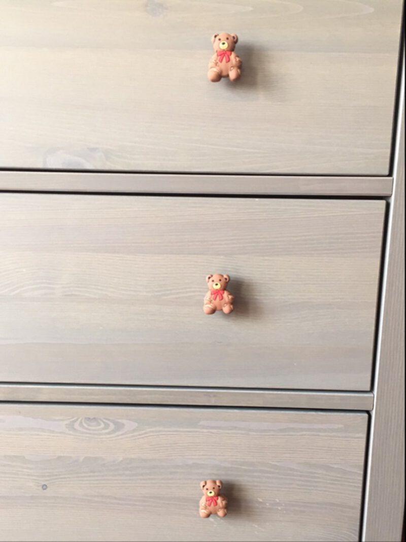 3875 Adorable Light Brown Teddy Bear 52mm Soft Rubber Knob