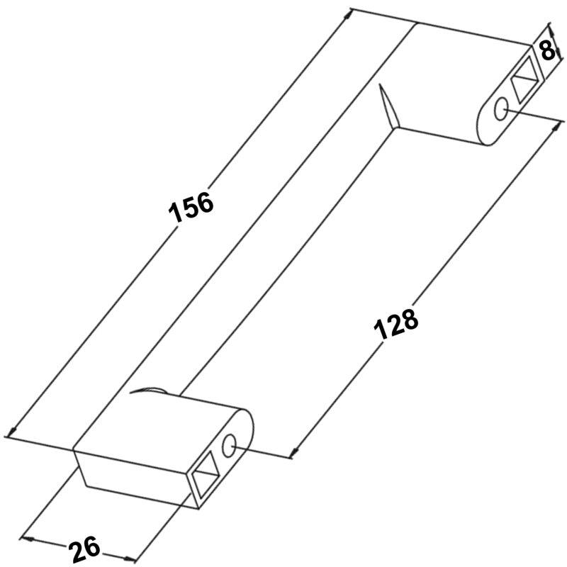 Furnware Dorset Contemporary Livorno Satin Chrome 128mm D Handle Dst M3163 128 Sc Diagram