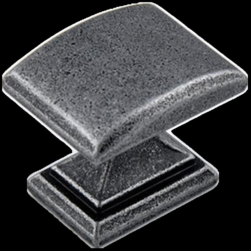Small Town Collection Pewter with Antique Black Highlight 33mm Rectangle Knob with Square Base