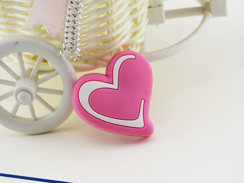 Pretty in Pink Love Heart with White Highlight 41mm Soft Rubber Knob
