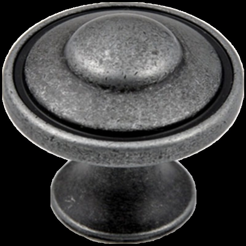 Small Town Collection Pewter 30mm Fluted Round Mushroom Knob with Antique Black Highlight