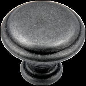 Small Town Collection Pewter 30mm Fluted Round Mushroom Knob with Rippled Base