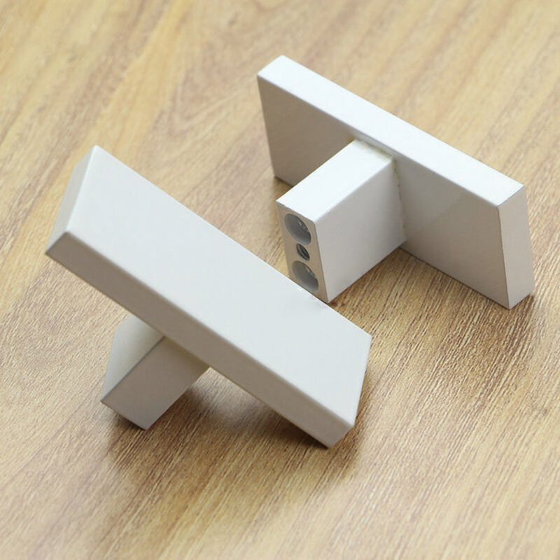 3911 White 60mm Rectangular T Knob