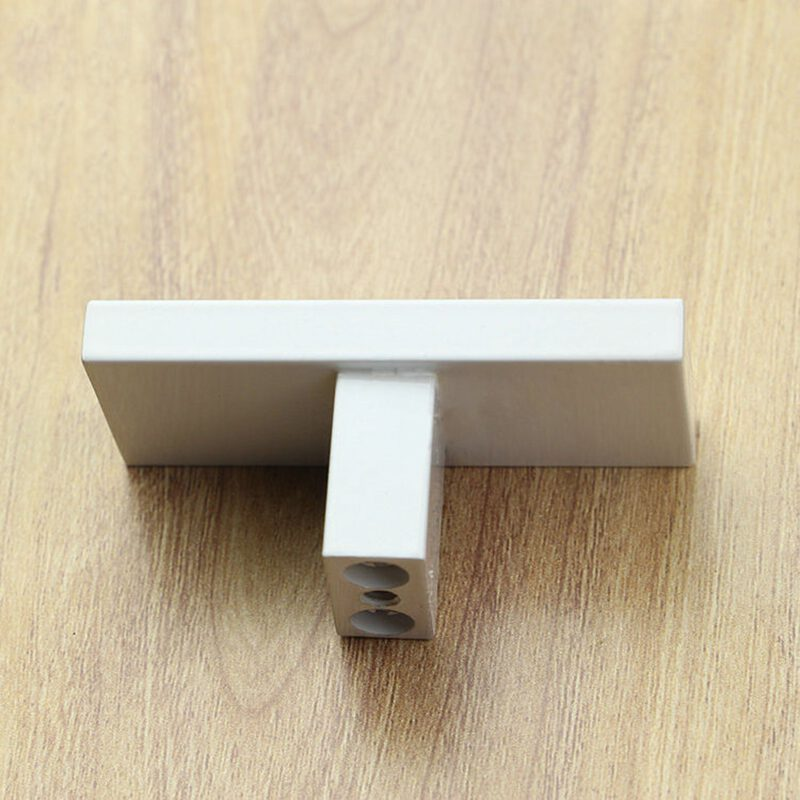 3912 White 60mm Rectangular T Knob