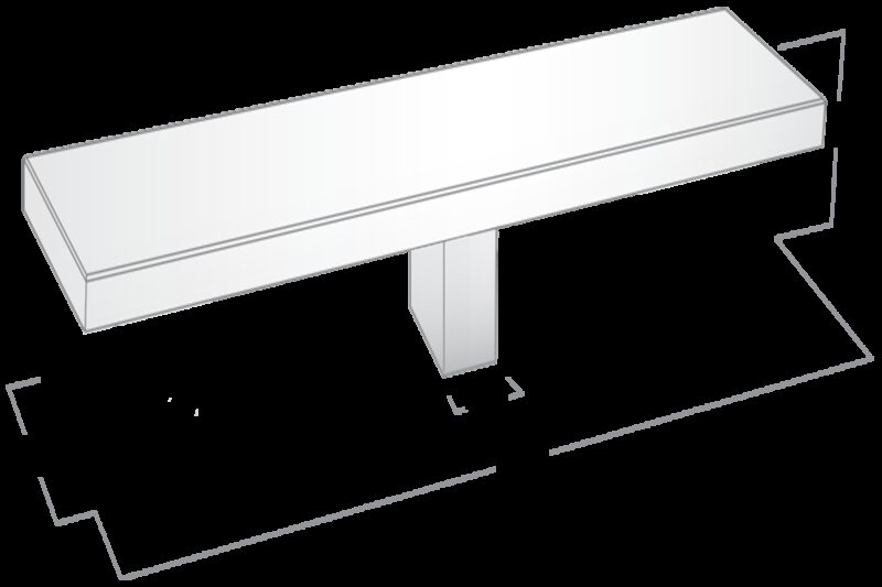 3914 White 60mm Rectangular T Knob