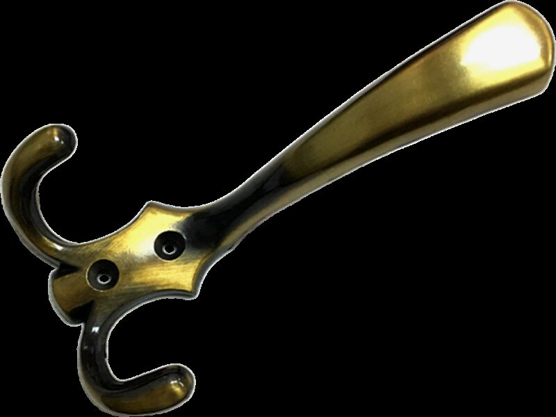 3995 Fabrica Antique Brass 143mm Three Prong Coat Hook
