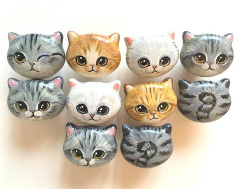 Custom Hand Painted Ceramic 42mm Kitten Face Knob