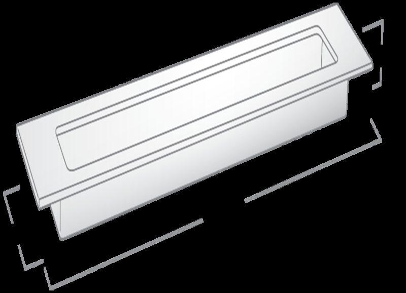 Castella Minimal Slide Stainless Steel 200mm Recessed Rectangle Flush Pull Handle