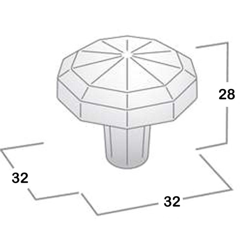 Castella Artisan Tudor Old America 32mm Decagon Knob Diagram