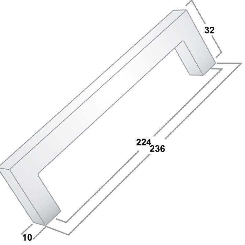 Castella Linear Manhattan Matt Black 224mm Square D Pull Handle 036 224 04 Diagram