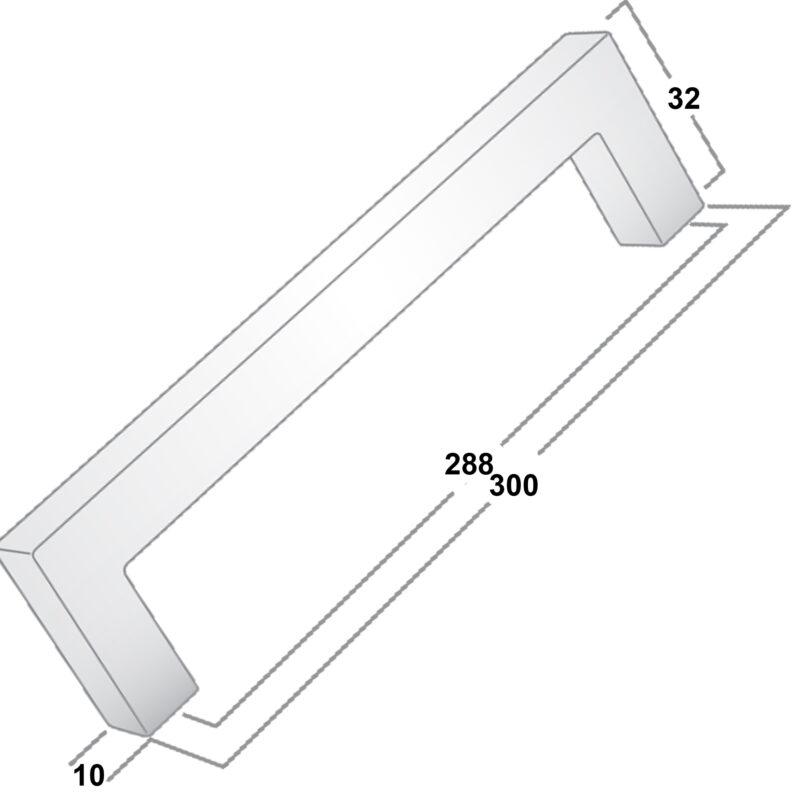 Castella Linear Manhattan Matt Black 288mm Square D Pull Handle 036 288 04 Diagram