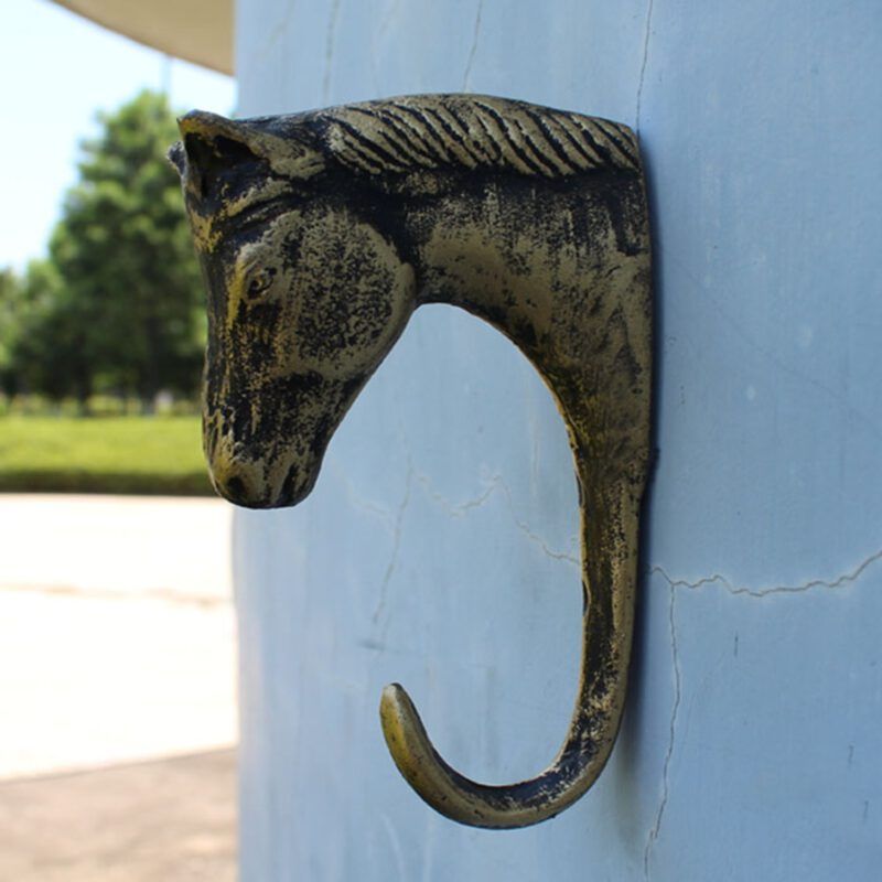 Caballo Horse Head Antique Brass 130mm Single Prong Cast Iron Coat Hook