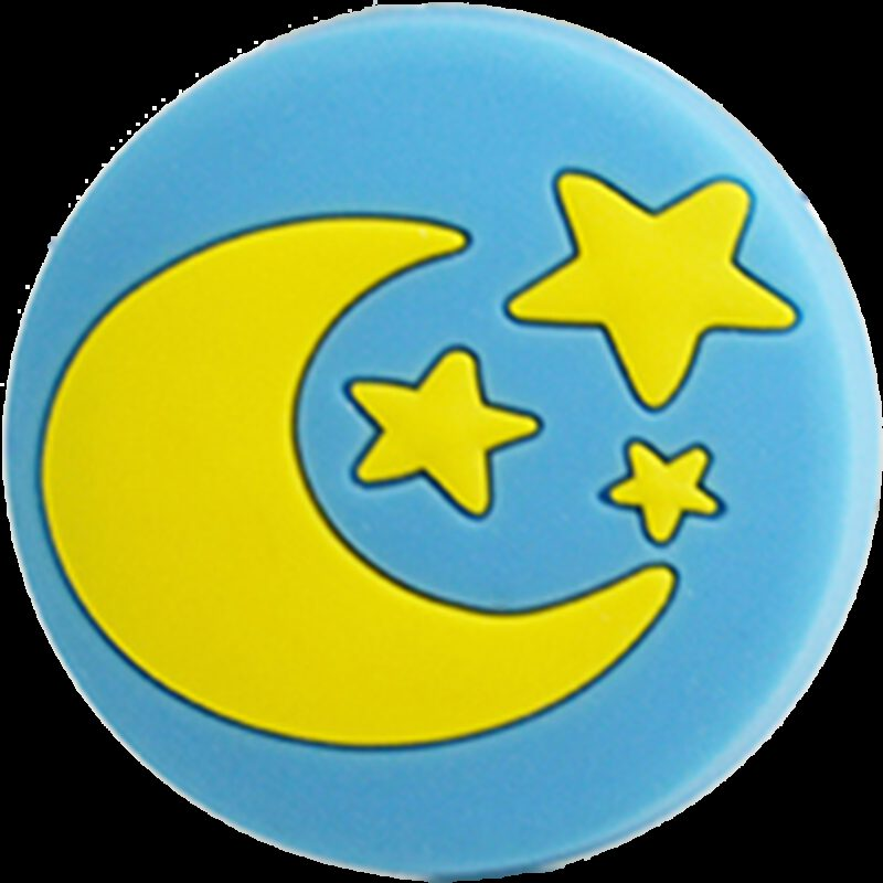 4345 Yellow Moon And Stars On Blue Background 40mm Round Soft Rubber Knob