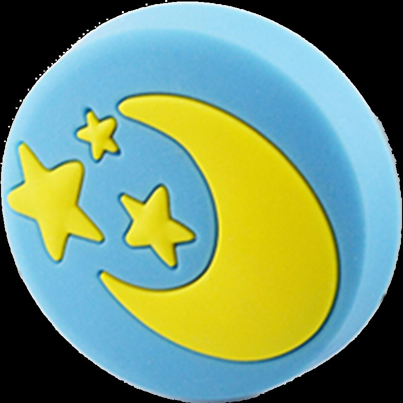 4346 Yellow Moon And Stars On Blue Background 40mm Round Soft Rubber Knob