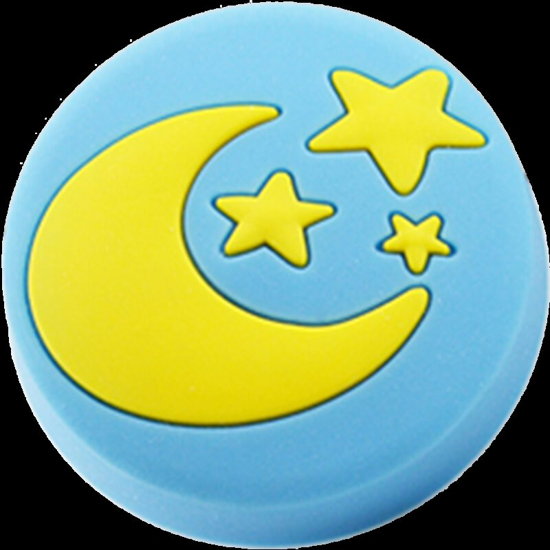4347 Yellow Moon And Stars On Blue Background 40mm Round Soft Rubber Knob