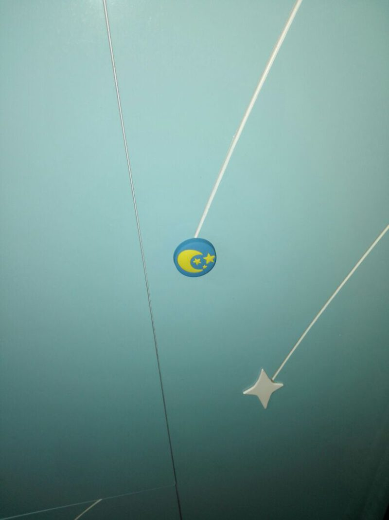 Yellow Moon and Stars on Blue Background 40mm Round Soft Rubber Knob