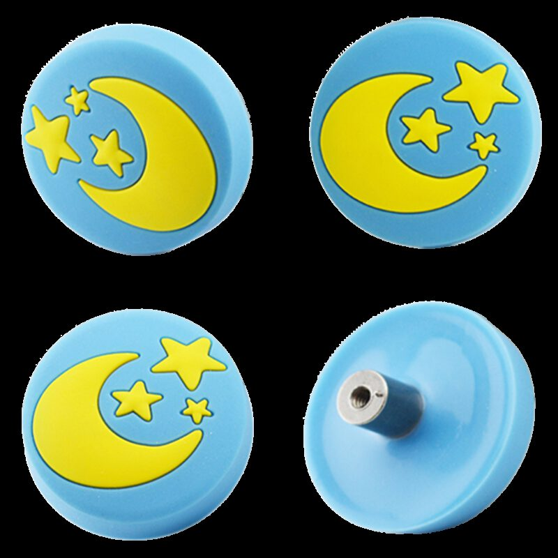 4352 Yellow Moon And Stars On Blue Background 40mm Round Soft Rubber Knob