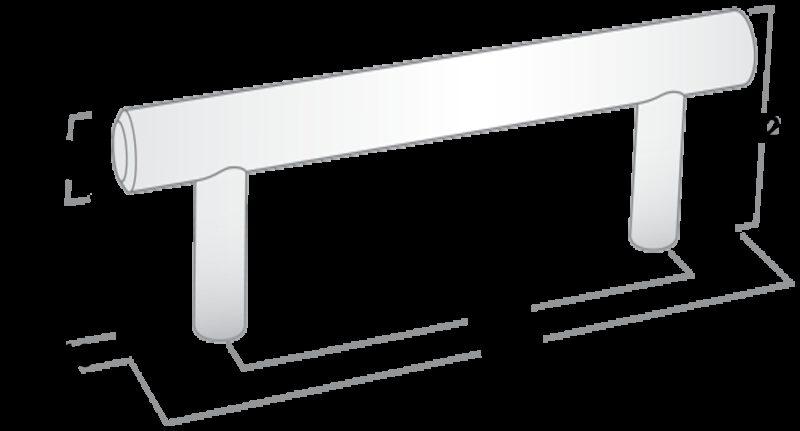 T-Bar Rail and Post Matte Black 288mm Aluminium Handle