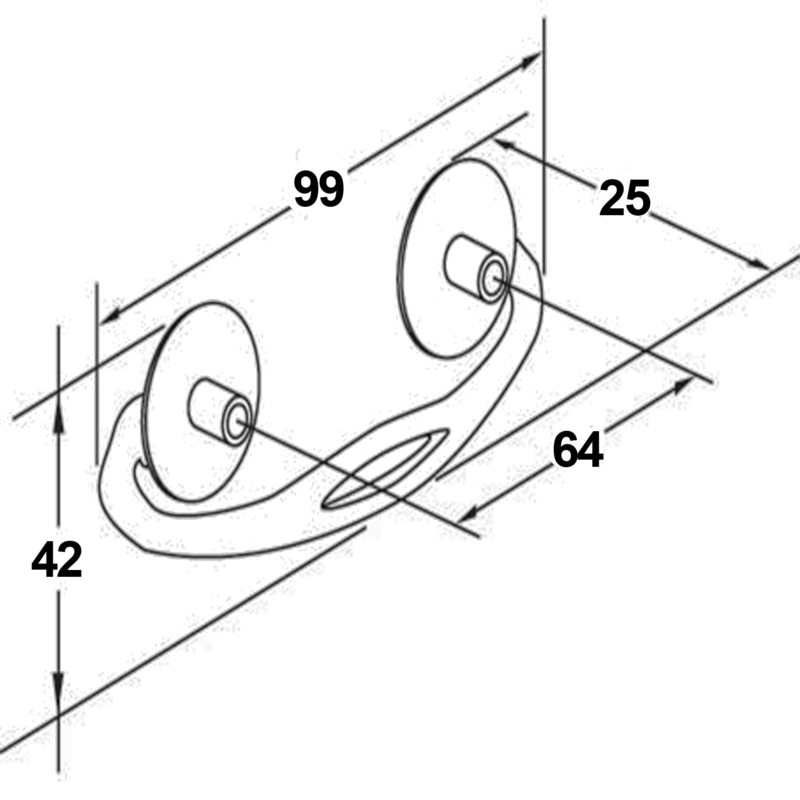 Furnware Dorset Black Swivel Bail 64mm Drop Pull Handle Dc396 Bl Diagram