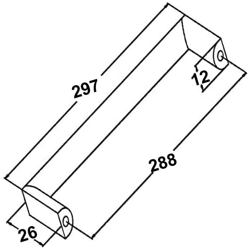 Furnware Dorset Dallas Collection Chrome Plated 288mm Square D Pull Handle Dst Fdh288 Cp Diagram