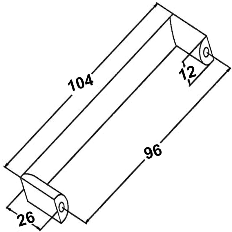 Furnware Dorset Dallas Collection Chrome Plated 96mm Square D Pull Handle Dst Fdh96 Cp Diagram