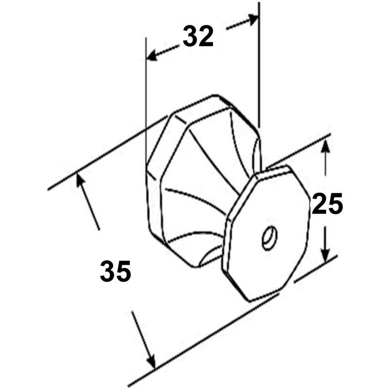 Furnware Dorset Montrose Collection Pewter Finish 32mm Cast Iron Octagonal Knob Dst Kb3885 32 Pw Diagram