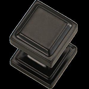 4843 Roman Square Pillar Matt Black 25mm Knob