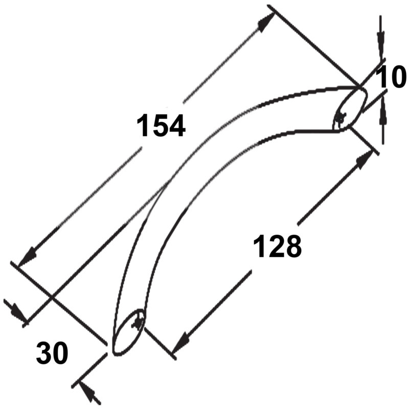 Furnware Dorset Locarno Bow Handle Brushed Nickel Zinc Alloy C Pull 128mm Strt128 Brn Diagram