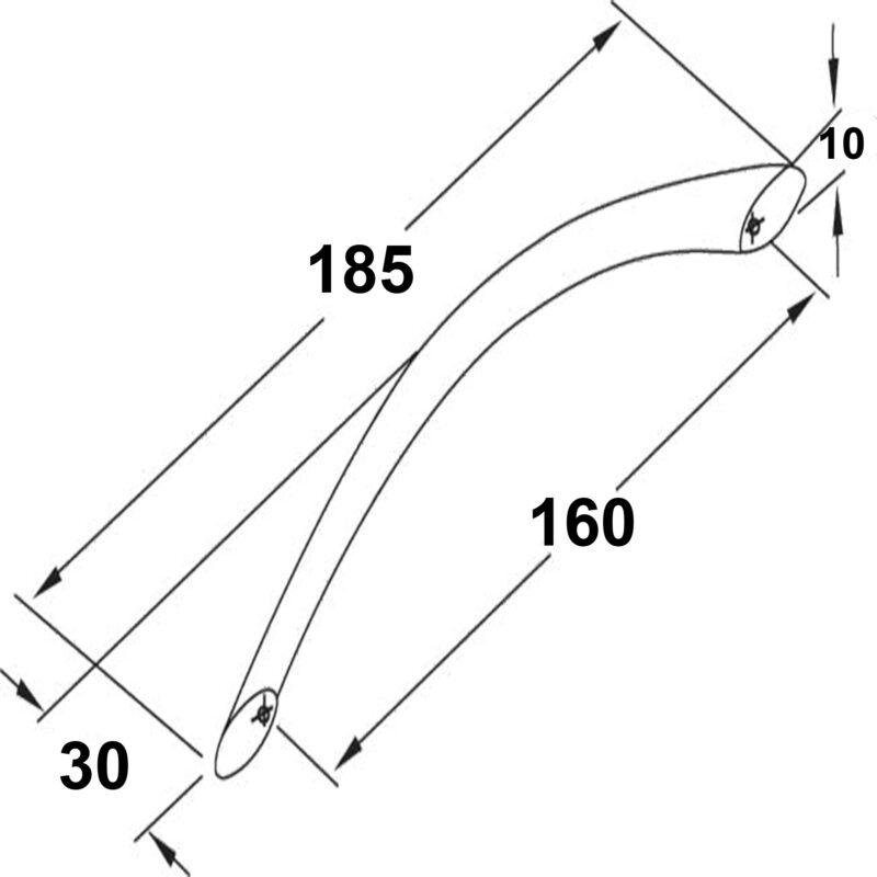 Furnware Dorset Locarno Satin Nickel 160mm Bow C Pull Handle Strt160 Sn Diagram