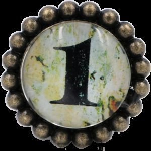 Ashenvale Varema Vintage Patina Number Series One Antique Brass 42mm Round Glass Knob