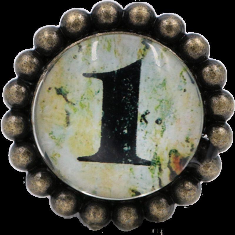 4910 Ashenvale Varema Vintage Patina Number Series One Antique Brass 42mm Round Glass Knob