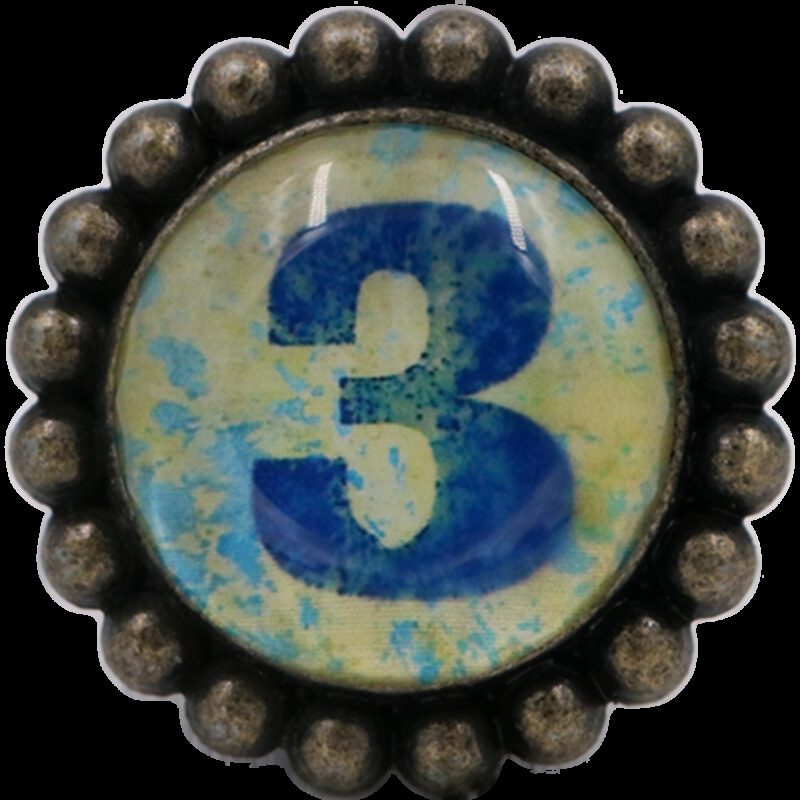 Ashenvale Varema Vintage Patina Number Series Three Antique Brass 42mm Round Glass Knob