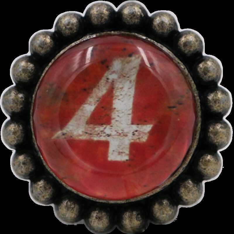 4939 Ashenvale Varema Vintage Patina Number Series Four Antique Brass 42mm Round Glass Knob