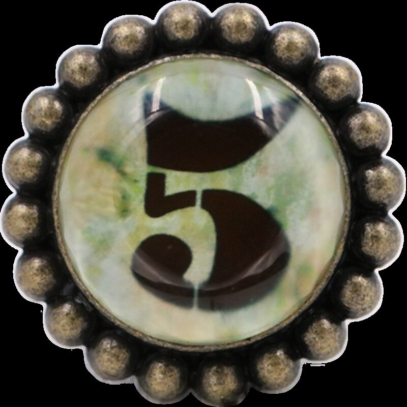 Ashenvale Varema Vintage Patina Number Series Five Antique Brass 42mm Round Glass Knob