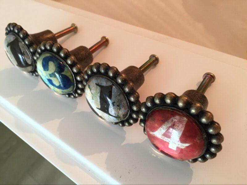 Ashenvale Varema Vintage Patina Number Series Six Antique Brass 42mm Round Glass Knob